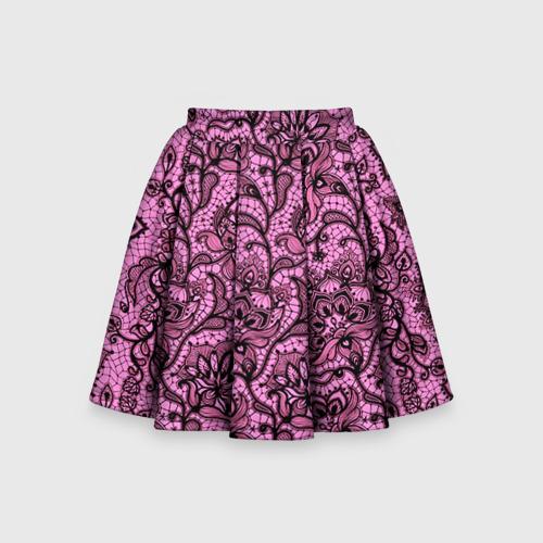 Детская юбка-солнце 3D Розовое кружево