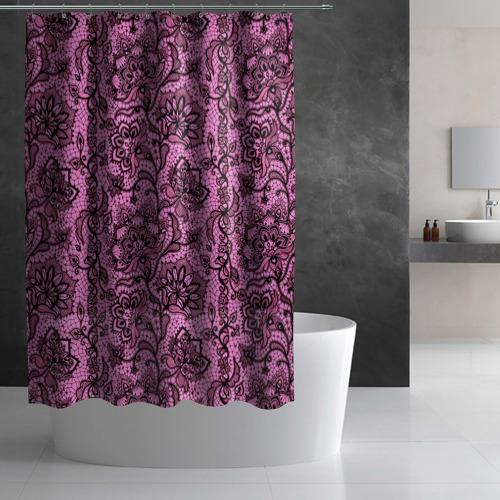 Штора 3D для ванной Розовое кружево Фото 01