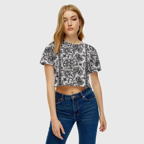 Женская футболка 3D укороченная  Фото 04, Кружево