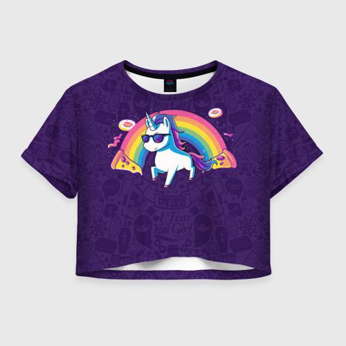 Женская футболка Cropp-top Радужный Единорог в Очках  Фото 01