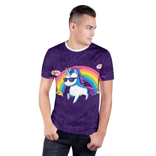 Мужская футболка 3D спортивная Радужный Единорог в Очках  Фото 01