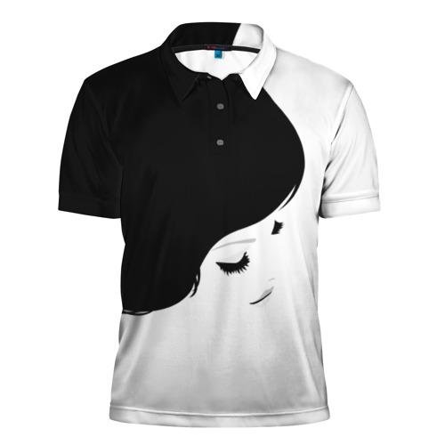 Мужская рубашка поло 3D Лицо и волосы девушки