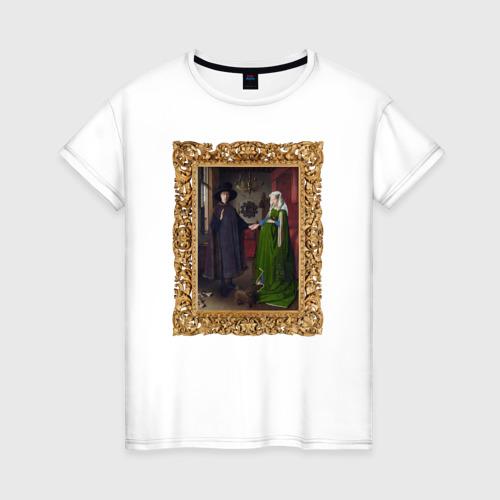 Женская футболка хлопок Портрет четы Арнольфини