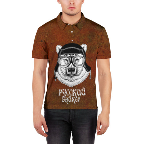 Мужская рубашка поло 3D  Фото 03, Русский байкер!