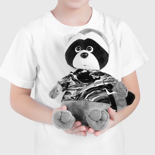 Енотик в футболке 3D Серые краски Фото 01