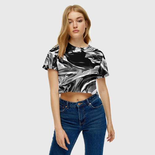 Женская футболка Crop-top 3D Серые краски Фото 01