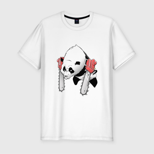 Мужская футболка премиум  Фото 01, Панда - руки бензопилы