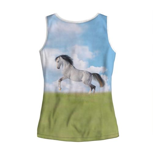 Женская майка 3D  Фото 02, Белый конь