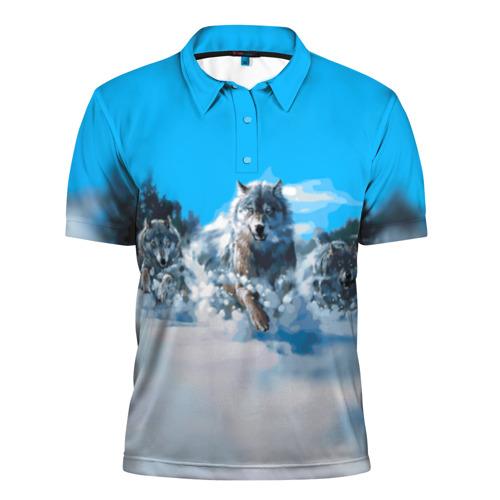 Мужская рубашка поло 3D Волчья охота