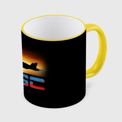 Кружка с полной запечаткой Истребитель ВВС на закате