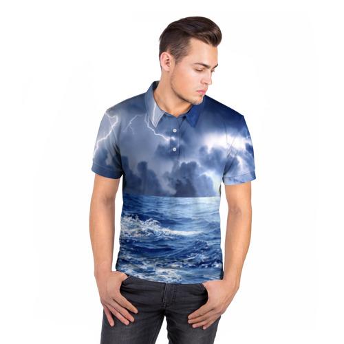 Мужская рубашка поло 3D  Фото 05, Шторм