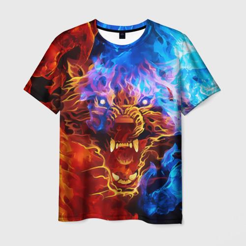 Мужская футболка 3D Огненный оскал