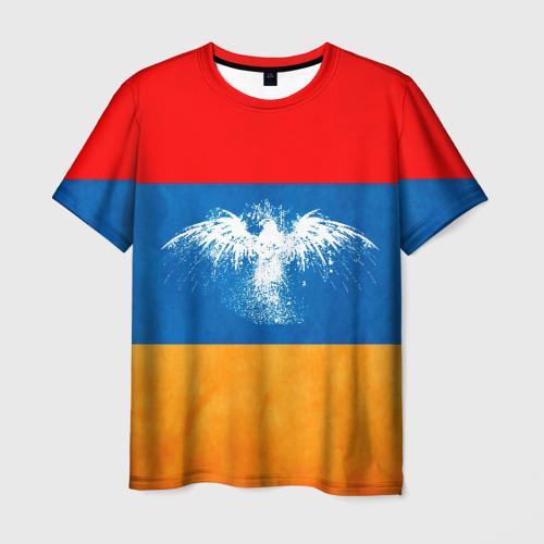 Мужская футболка 3D  Фото 03, Флаг Армении с белым орлом