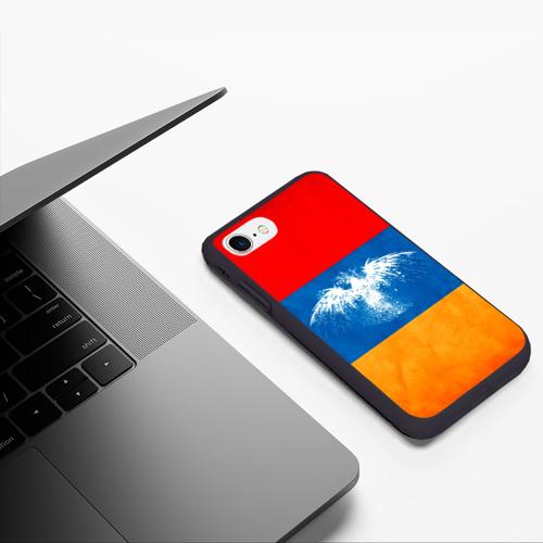 Чехол для iPhone 7/8 матовый Флаг Армении с белым орлом Фото 01