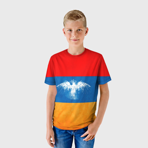 Детская футболка 3D  Фото 01, Флаг Армении с белым орлом
