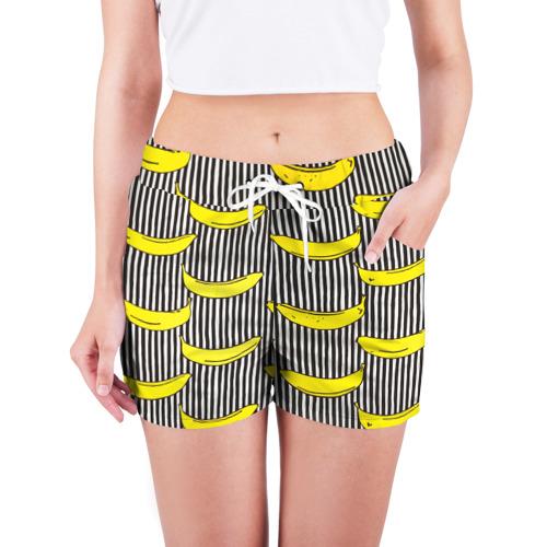 Женские шорты 3D  Фото 03, Бананы на Полосатом Фоне