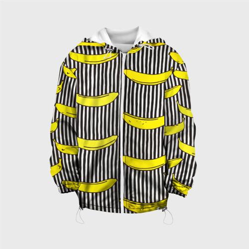 Детская куртка 3D  Фото 01, Бананы на Полосатом Фоне
