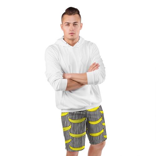 Мужские шорты 3D спортивные  Фото 05, Бананы на Полосатом Фоне