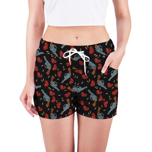 Женские шорты 3D  Фото 03, Револьверы и Розы