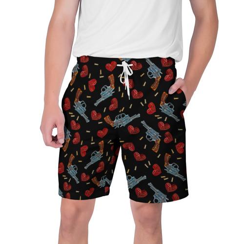 Мужские шорты 3D  Фото 01, Револьверы и Розы