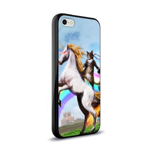 Чехол для Apple iPhone 5/5S силиконовый глянцевый  Фото 02, Кот на Единороге