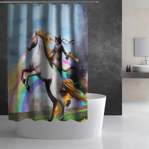 Штора 3D для ванной Кот на Единороге Фото 01