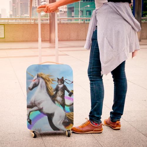 Чехол для чемодана 3D Кот на Единороге Фото 01