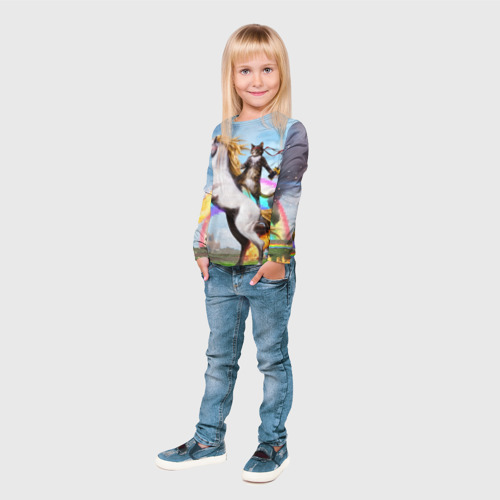 Детский лонгслив 3D Кот на Единороге Фото 01