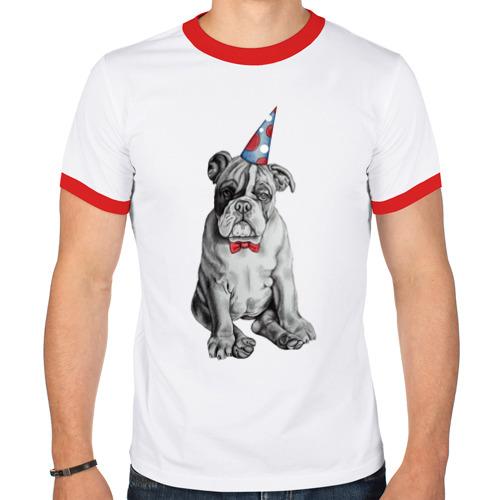 Мужская футболка рингер  Фото 01, праздничный бульдог