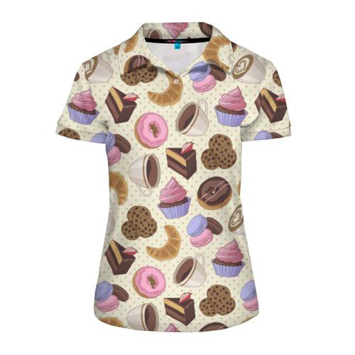 Женская рубашка поло 3D Радости и сладости 2