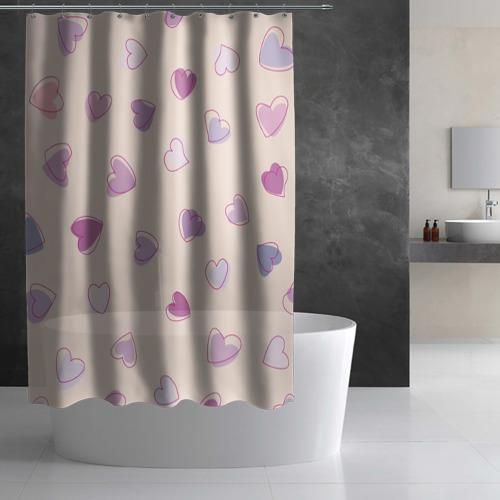 Штора 3D для ванной  Фото 02, Heart