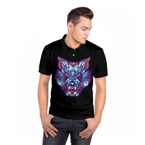 Мужская рубашка поло 3D  Фото 05, Дуx волка