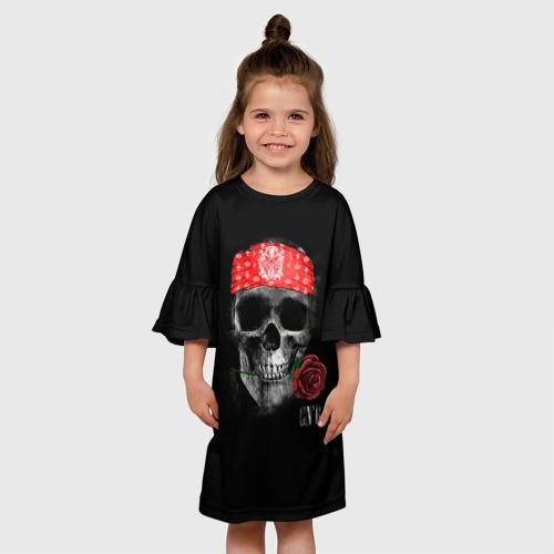 Детское платье 3D  Фото 01, Череп с розой