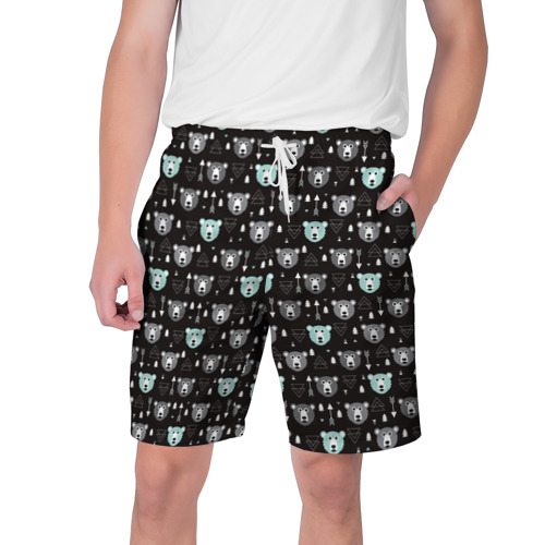 Мужские шорты 3D  Фото 01, Медведи и геометрия