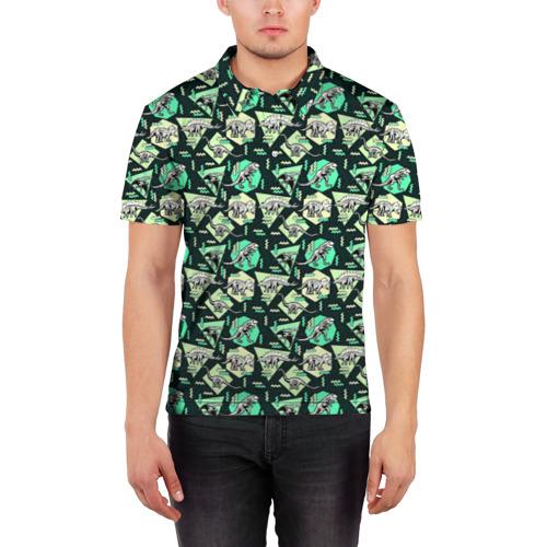 Мужская рубашка поло 3D  Фото 03, Динозавры