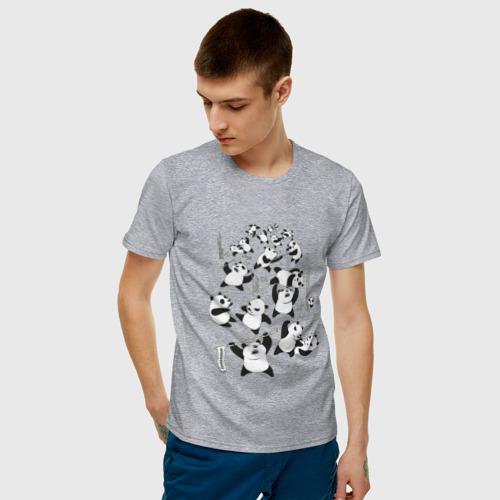 Мужская футболка хлопок Драка панд Фото 01