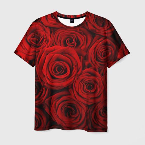Мужская футболка 3D  Фото 03, Красные розы