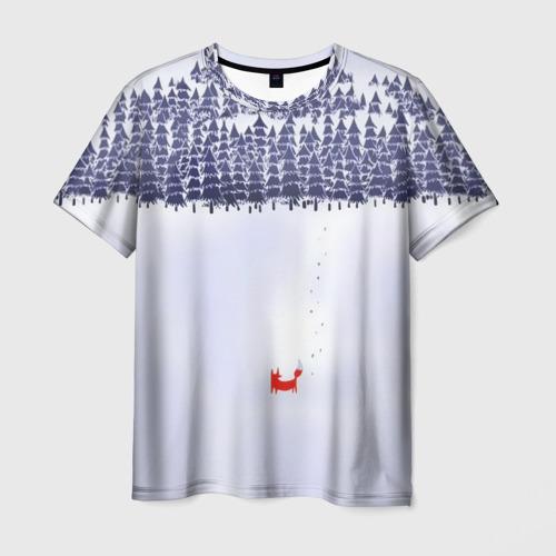 Мужская футболка 3D  Фото 01, Лисичка уходит из леса