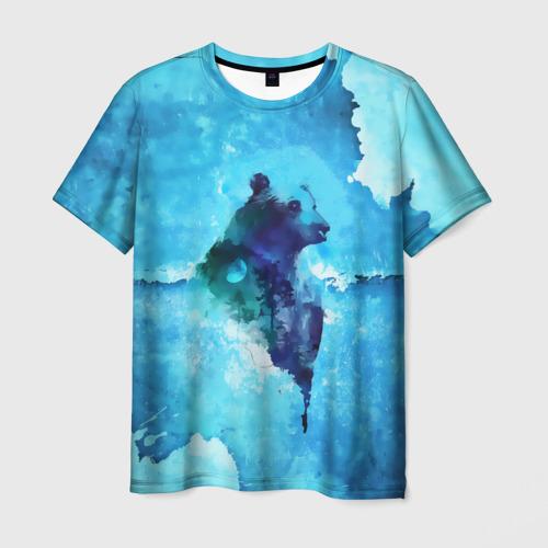 Мужская футболка 3D Медведь пейзаж в стене