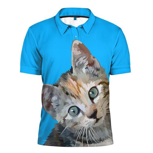 Мужская рубашка поло 3D Котик