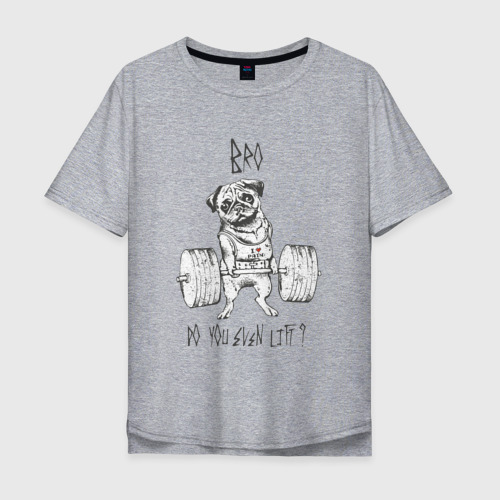 Мужская футболка хлопок Oversize Мопс Фото 01