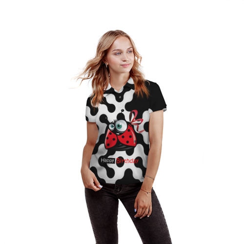 Женская рубашка поло 3D  Фото 03, birth day