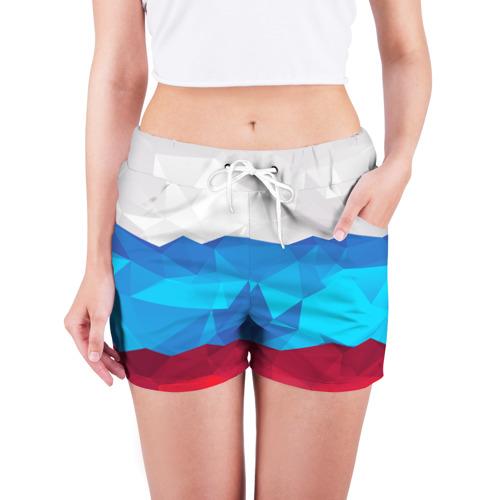 Женские шорты 3D  Фото 03, Полигональный флаг России