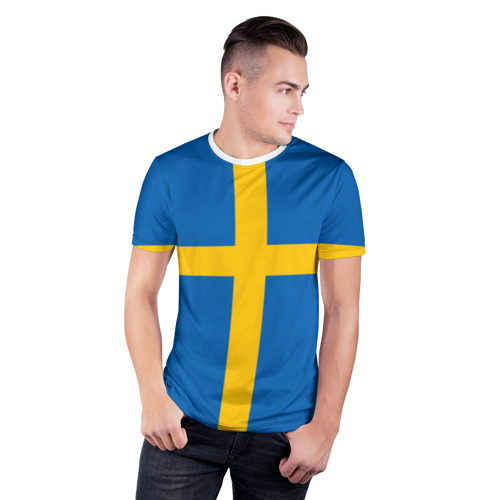 Мужская футболка 3D спортивная  Фото 03, Флаг Швеции