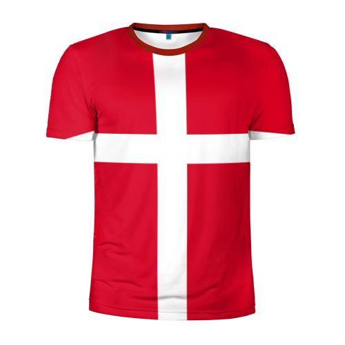 Мужская футболка 3D спортивная Флаг Дании