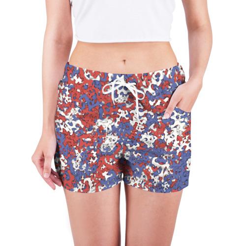 Женские шорты 3D  Фото 03, Бело-сине-красный камуфляж