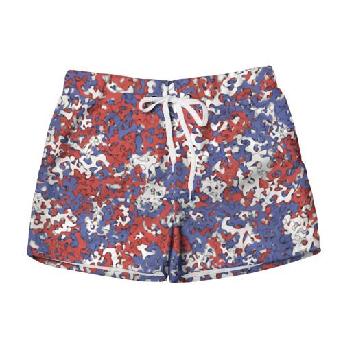 Женские шорты 3D  Фото 01, Бело-сине-красный камуфляж