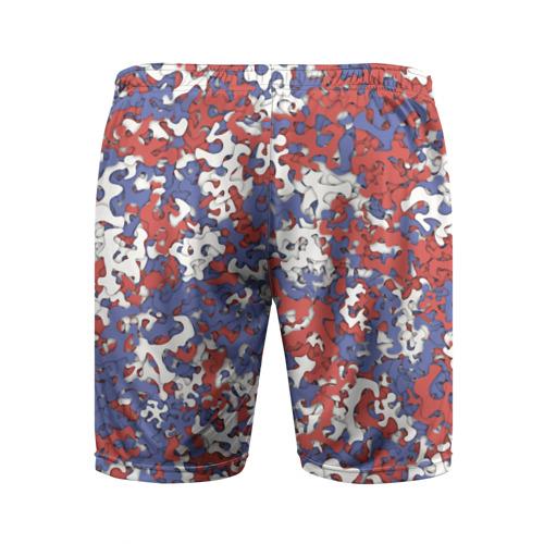 Мужские шорты 3D спортивные  Фото 02, Бело-сине-красный камуфляж