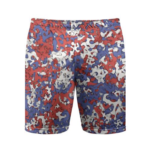 Мужские шорты 3D спортивные  Фото 01, Бело-сине-красный камуфляж