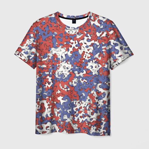 Мужская футболка 3D  Фото 03, Бело-сине-красный камуфляж